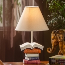 Fabric Book Design Table Light American Retro Single Light Standing Table Lamp in White