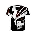 3D Cartoon Mask Printed Round Neck Short Sleeve Tee