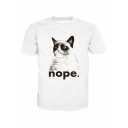 Cat NOPE Letter Printed Round Neck Short Sleeve Tee