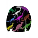 Colorful Dinosaur Printed Round Neck Long Sleeve Sweatshirt