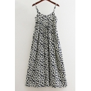 New Fashion Floral Pattern A-Line Cami Dress with Button