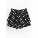 Chic Polka Dot Pattern High Waist Wide Leg Shorts