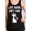 CAT HAIR DON'T CARE Letter Animal Printed Round Neck Sleeveless Leisure Tank