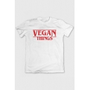 VEGAN THINGS Letter Printed Round Neck Short Sleeve Graphic Tee