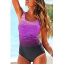 Fashion Ombre Printed Round Neck Sleeveless Crisscross Back One Piece Swimwear