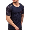 Badge Embellished Camouflage Printed Short Sleeve Round Neck Slim Tee