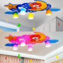 Lovely Blue/Pink Children's Bedroom Flush Mount Light Wood Led Bear & Star Kid's Lighting
