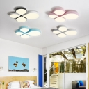 Metallic Bloom Ceiling Flush Mount Macaron Colorful Children Flushmount in White/Third Gear