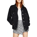Chic Plain Long Sleeve Lapel Collar Button Down Oversize Denim Jacket