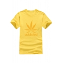 ADDICTED Letter Leaf Printed Round Neck Short Sleeve Tee