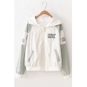 Function Letter Printed Long Sleeve Color Block Zip Up Hooded Coat