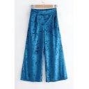 Velvet Elastic Waist Plain Loose Wide Leg Pants