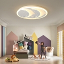 Two Dolphin Kids Room Flush Ceiling Lamp Warm Light