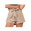 Bow Tie Drawstring Waist Plain Loose Shorts