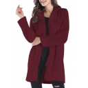 Fake Fur Lapel Collar Long Sleeve Open Front Plain Tunic Coat