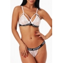 Letter Printed Rib Trim Hollow Out Sexy Lace Bra with Panty Co-ords