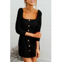 Square Neck 3/4 Length Sleeve Button Front Plain Vintage Mini A-Line Dress