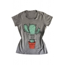 Cactus FREE HUG Letter Printed Round Neck Short Sleeve Tee