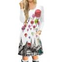 Hot Air Balloon Printed Round Neck Long Sleeve Midi A-Line Dress