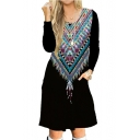 Tribal Printed Round Neck Long Sleeve Leisure Midi A-Line Dress