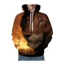 New Fashion Digital Lion Printed Long Sleeve Unisex Hoodie
