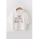FRIDAY NIGHT Letter Cat Printed Short Sleeve Hooded Tee