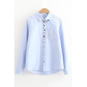Chic Glasses Embroidery Long Sleeve Shirt with Colorful Button