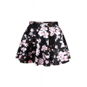New Arrival Floral Printed High Waist Mini A-Line Skirt