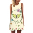 Floral Butterfly Printed Round Neck Sleeveless Mini A-Line Dress