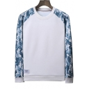 Color Block Camouflage Printed Raglan Long Sleeve Round Neck Sweatshirt