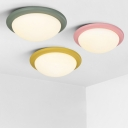 Bowl Shade Flush Light Modern Nordic Colorful Acrylic Flush Mount Lighting for Children Room