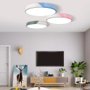 Round LED Flush Mount Light Colorful Bedroom Metallic Ceiling Lamp in White/Third Gear
