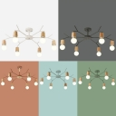 Simplicity Open Bulb Suspension Light Living Room Metallic 5/6 Lights Chandelier Light