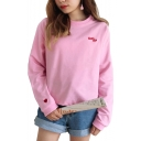 Chic Letter Heart Embroidered Round Neck Long Sleeve Sweatshirt