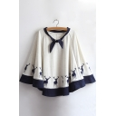 Cute Deer Printed Knotted Round Neck Leisure Cape
