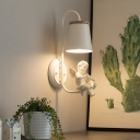 1-Light Wood Coolie Shade Hanging Pendant Light with Birds