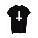 Simple Cross Printed Short Sleeve Round Neck Leisure Tee