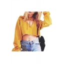 Cut Out Front Plain Long Sleeve Crop Hoodie