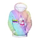 Unicorn Color Block Printed Long Sleeve Leisure Unisex Hoodie