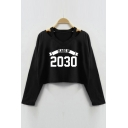 CLASS OF 2030 Letter V Neck Long Sleeve Hollow Out Crop Sweatshirt