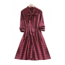 Plaid Printed V Neck Long Sleeve Elastic Waist Midi A-Line Dress
