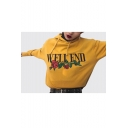 WELL END Letter Floral Embroidered Long Sleeve Hoodie