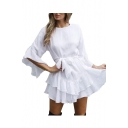 Ruffle Detail Plain Round Neck 3/4 Length Sleeve Mini A-Line Dress