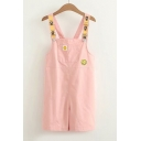 Cute Smile Face Pattern Applique Straps Sleeveless Overall Romper