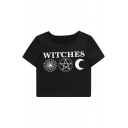 WITCHES Letter Cobweb Printed Round Neck Short Sleeve Crop Tee