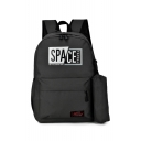 SPACE Letter Printed Backpack School Bag with Large Capacity