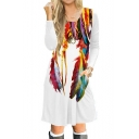 Trendy Feather Printed Long Sleeve Leisure Midi A-Line Dress
