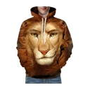 3D Cartoon Lion Printed Long Sleeve Casual Hoodie