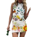 Slim Butterfly Floral Printed Sleeveless Mini Hooded Pencil Dress