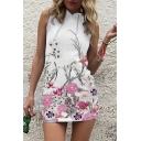 Chic Floral Printed Sleeveless Hooded Slim Mini Pencil Dress